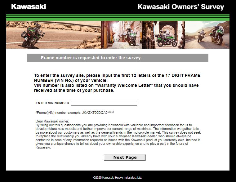 Kawasaki World Guest Opinion Survey