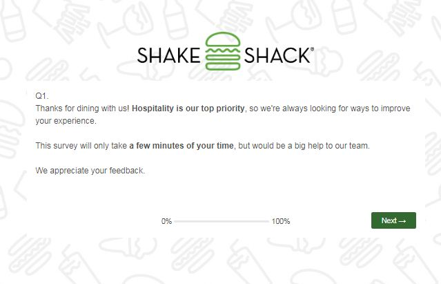 Shake Shack Guest Opinion Survey